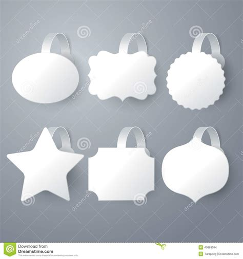 vector white wobbler set on gray background set stock
