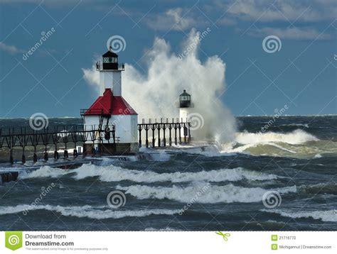 Midwest House Plans st joseph lighthouse storm michigan usa stock photo