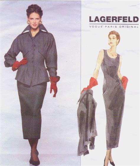 Karl Steinhoff Ksv Size 34 90s karl lagerfeld vogue original sewing pattern 1412 womens peplum jacket dress size 8