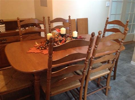 maple dining table chairs vilas maple dining table with 6 ladderback chairs outside
