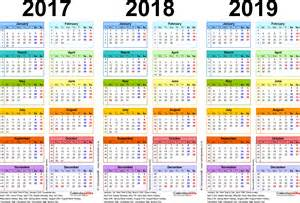 Calendar 2018 Pdf In Three Year Calendars For 2017 2018 2019 Uk For Pdf