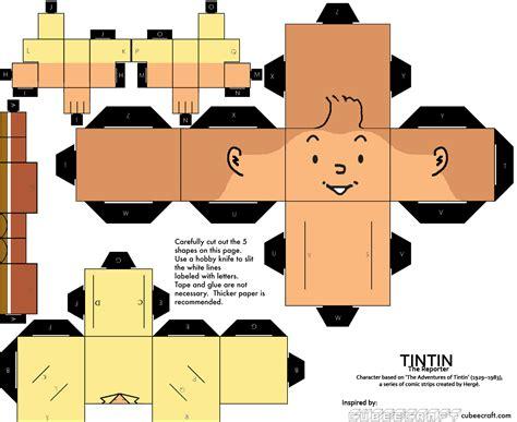 paper cube craft tintin cube craft by basabasibusuk artesanato de