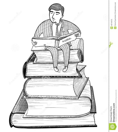 doodle version businessman reading stock vector image 48744375