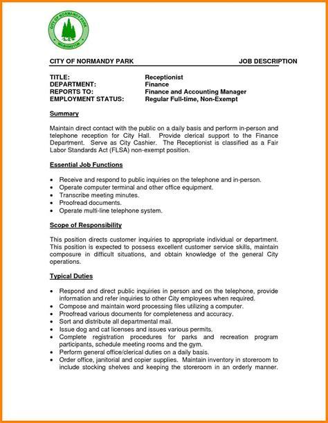 free medical receptionist resume medical receptionist resume