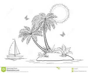 island with palm and ship contours stock image image