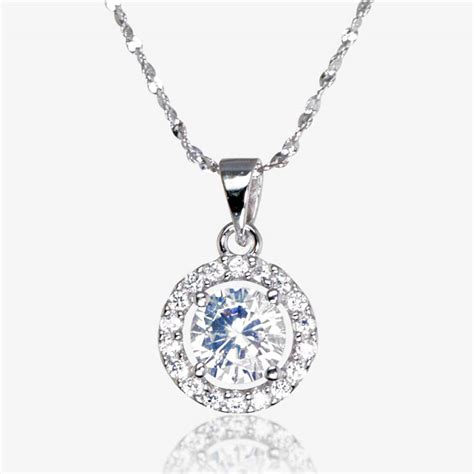 Silver Pendant With Cubic Zirconia P 181 the amelia sterling silver diamonflash cubic zirconia necklace