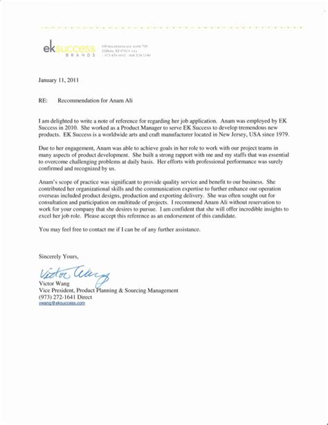 Recommendation Letter For Management Product Manager Recommed Letter