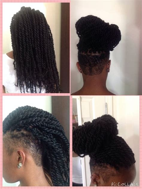 senegalese twist with shaved side mohawk side shave with marley twist only from smartbraids