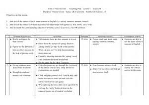 4 seasons teaching plan lesson 1