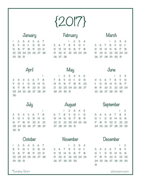 printable year at a glance calendar 2017 printable