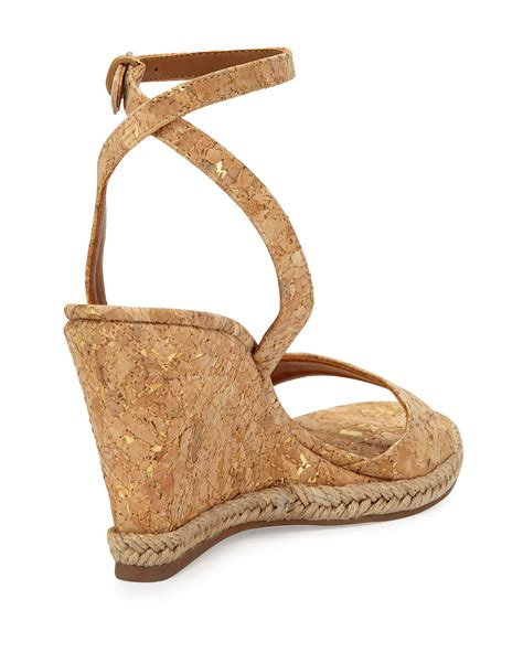 burch sandals wedge burch marion quilted cork wedge sandals in metallic