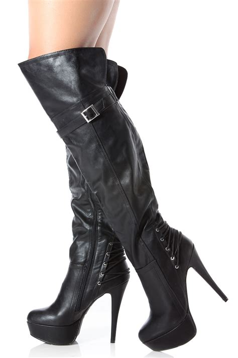 thigh high black leather high heel boots black faux leather thigh high platform high heel boots
