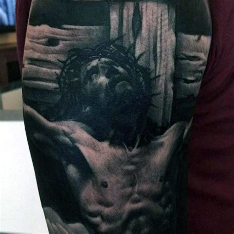 jesus on the cross tattoo 60 jesus arm designs for religious ink ideas