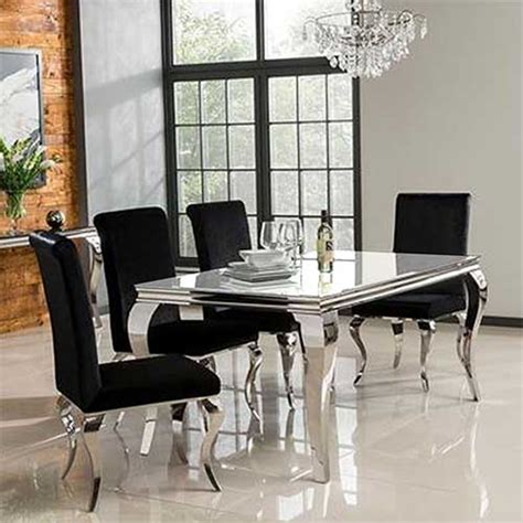 Kitchen Table Sale Uk by Louis 160cm Mirrored Dining Table With White Glass Seats