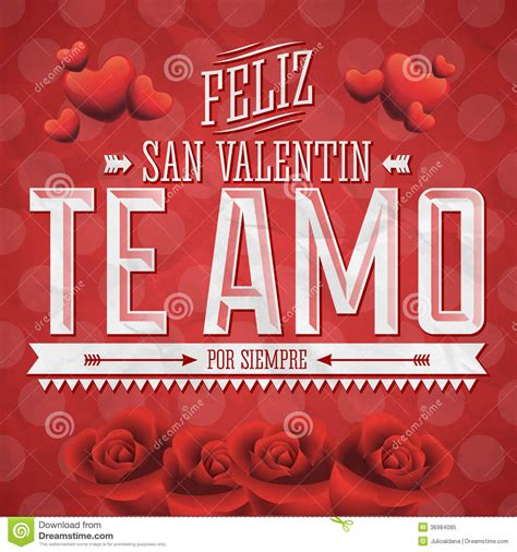 happy san valentin te amo feliz san valentin stock image image of color
