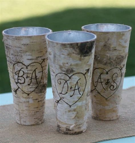 Birch Bark Vase by Personalized Birch Bark Wood Vase Item E10543