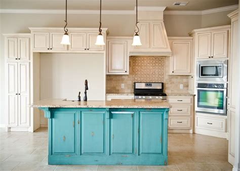 cream distressed kitchen cabinets distressed turquoise island with cream glazed cabinets