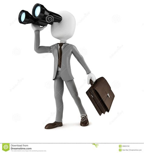Searching For In 3d Businessman Holding A Binocular Searching For Opportunities In Business Royalty