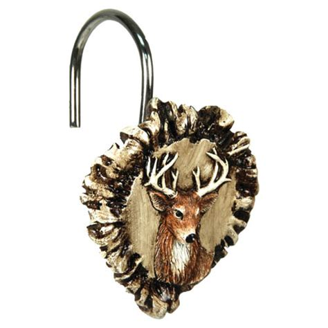 Deer Shower Curtain Hooks rivers edge products antler deer shower curtain hook set 647