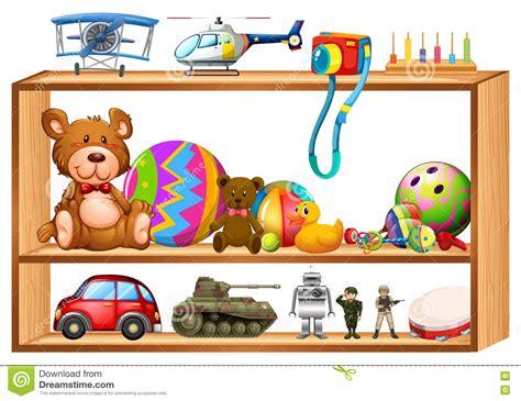 estante juguetes juguetes en estantes de madera ilustraci 243 n del vector