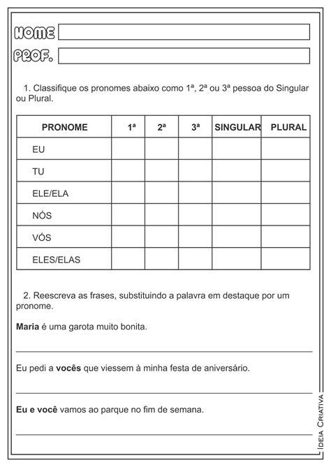 Exercicios De Pronomes Pessoais XH88 - Ivango