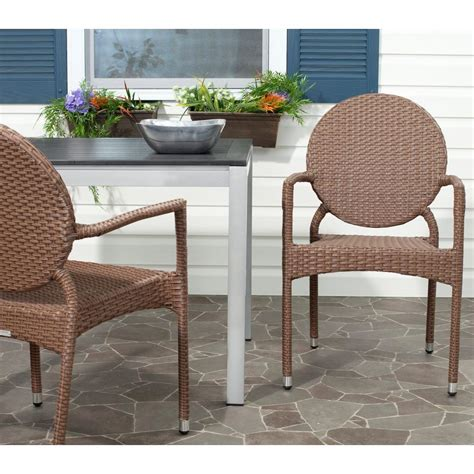 safavieh armchair safavieh halden white and black aluminum pe wicker patio armchair 2 pack pat4001a