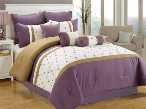 purple bed in a bag 11 piece queen purple white taupe embroidered bed in a bag w 500tc sheet set ebay