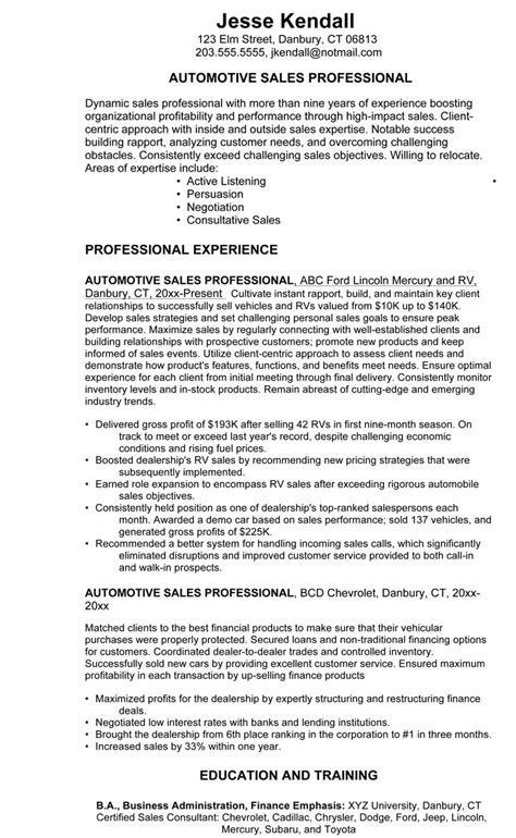 Auto Salesperson Sle Resume by Resume Auto Sales