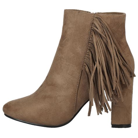 high heel fringe boots womens ankle boots high block heel fringe tassel