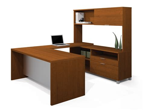 furniture wonderful u shaped desk with hutch bring unique and amazing look in your room bestar pro linea u shaped desk with hutch kit in cognac cherry 120854 76 office furniture