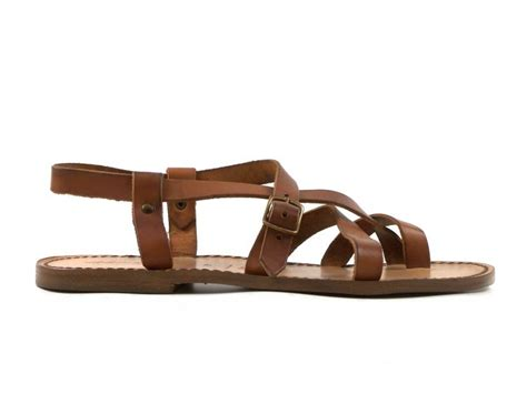 Mens Handmade Leather Sandals - handmade leather sandals for in vintage cuir color