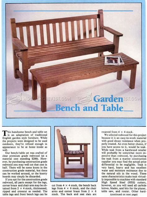 outdoor table and bench plans garden bench and table plans woodarchivist