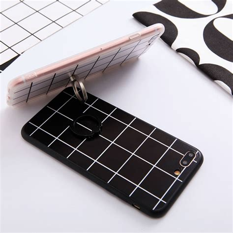 grid pattern phone case fashion grid mesh pattern phone case with finger ring for