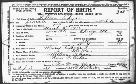 Illinois Vital Records Certificate Birth Certificates Of Children Of William And Demar Apgar Chicago Cook County