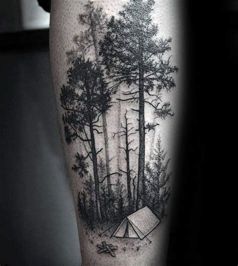 tent tattoo 100 forest designs for masculine tree ink ideas