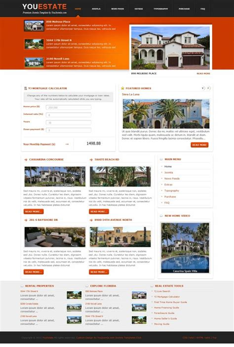 template joomla real estate free youestate real estate joomla template