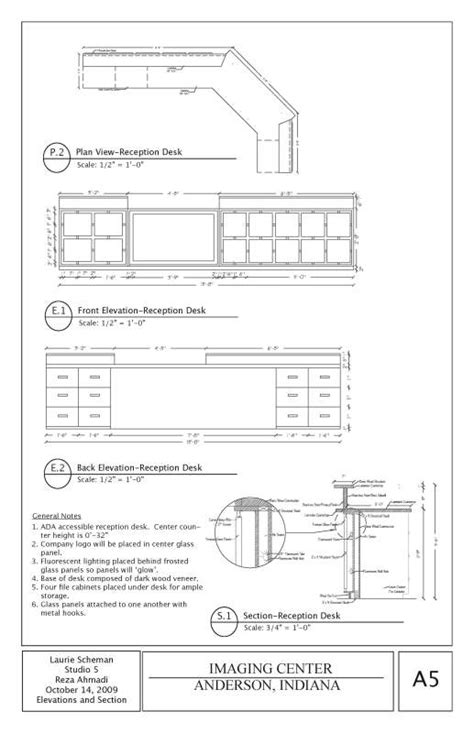 sections and layout of front office projects