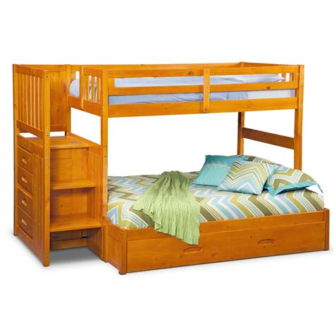 ranger twin  full bunk bed  storage stairs trundle pine american signature furniture