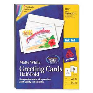 avery 8316 half fold greeting card 8 50 quot x 5 50 quot 0 recycled content matte 30 box