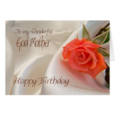 Godmother Cards Birthday Godmother A Birthday Card With A Pink Rose Zazzle