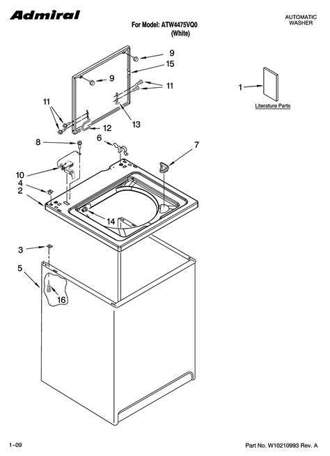 admiral washing machine parts diagram top and cabinet parts diagram parts list for model