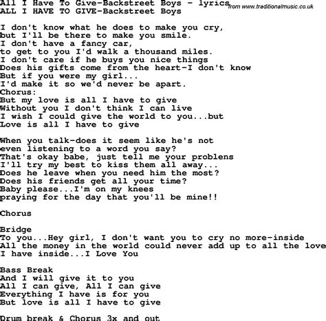 all i have to give love song lyrics for all i have to give backstreet boys