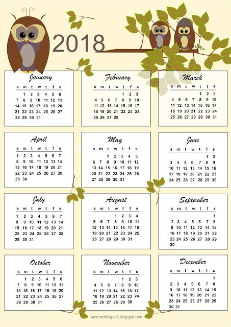 Kalender Dinding 1 2 Sisi Color 2 free printable 2018 owl calendar kalender freebie meinlilapark