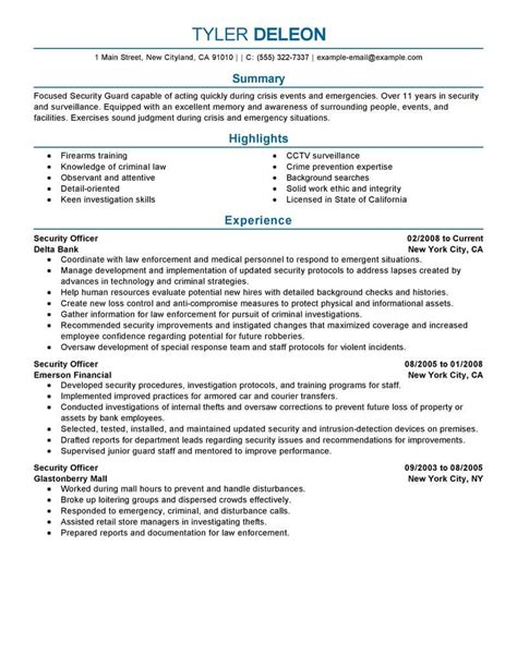 resume cover letter sles for security officer best security officer resume exle livecareer
