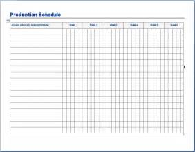 production schedule template sample format