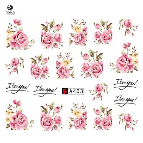 Toe Nail Sticker Kuku Kaki 5128 nail salon 1pcs new pink flower vine for diy nails toes decorations water