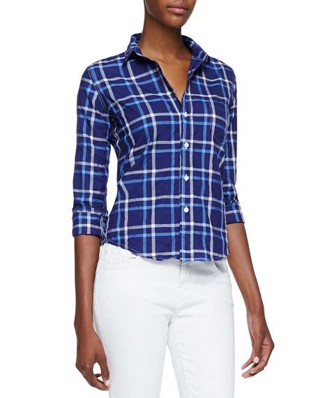 Frank Blue Blouse frank eileen barry plaid button front blouse blue white