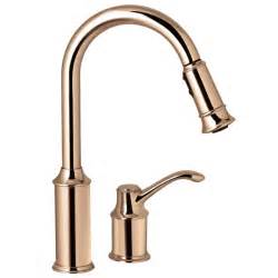 moen copper kitchen faucet moen 7590cpr aberdeen copper pullout spray kitchen faucets efaucets