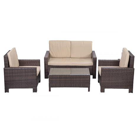 outdoor sofa cushion set 4pc pe rattan wicker sofa set cushion outdoor patio sofa