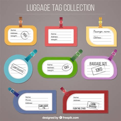 colored tags colored luggage tag collection vector free